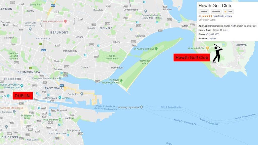 Dublin golf Map, Howth Golf Club Location