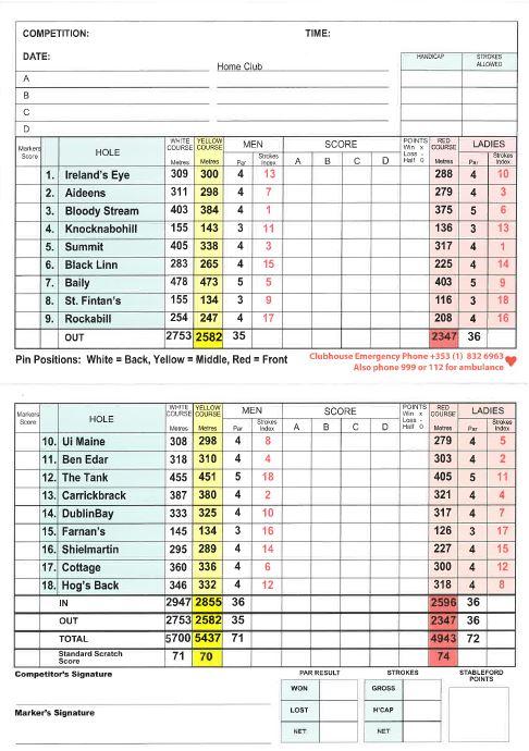 Howth Golf Club Score Card, Howth Golf Course - Dublin, links golf dublin, golf in dublin ireland