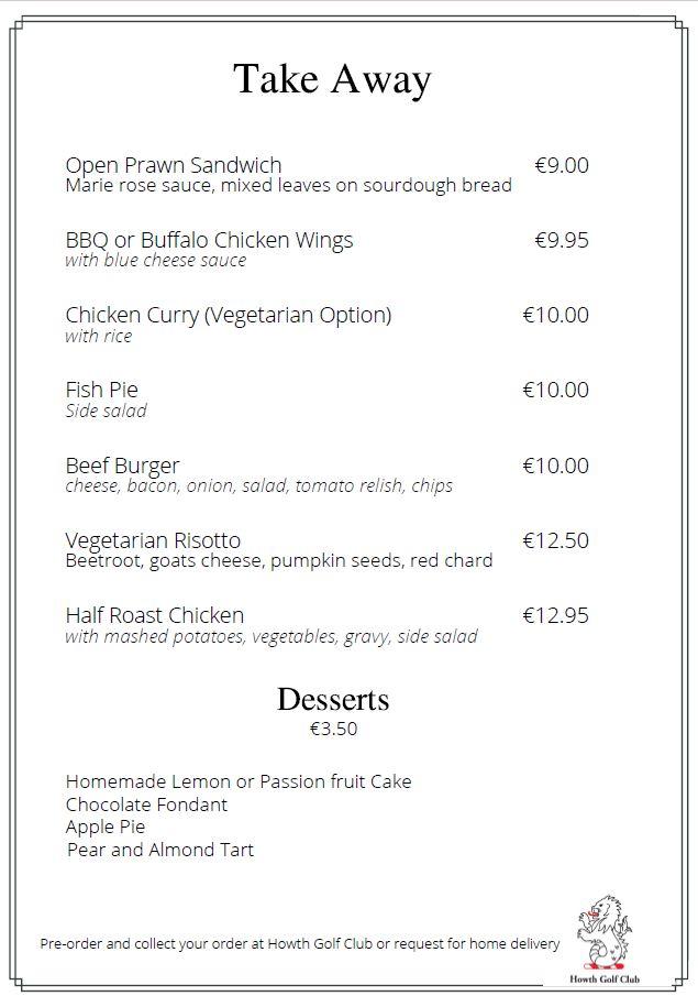 Howth Golf Club, Dublin Golf Club/Course takaway menu