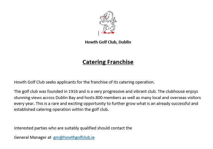 catering opportunity at Howth Golf Club