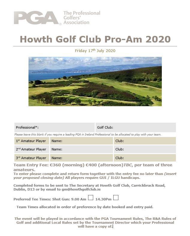 Howth golf Club pro-Am 2020, Dublin golf